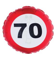 Folie ballon verkeersbord 70 jaar