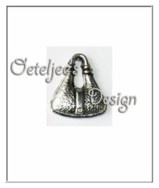 Bedel - Ovaal tasje metaal oudzilverkleur
