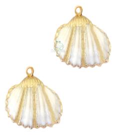 Schelp hanger specials Kokkel wit goud