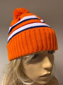 Oranje ijsmuts rood/wit/blauw met pompon (m/v)