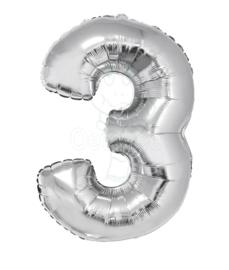 Folie ballon zilver cijfer 3 (100 cm)