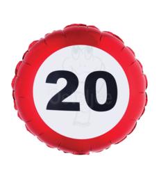 Folie ballon verkeersbord 20 jaar