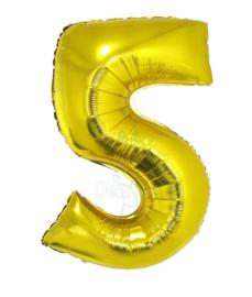 Folie ballon goud cijfer 5 (100 cm)