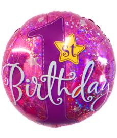 Folie ballon eerste verjaardag roze