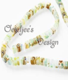 Glaskralen - Millefiori blokje groen 6 mm
