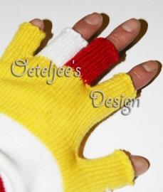 Oeteldonk vingerloze handschoenen rood wit geel