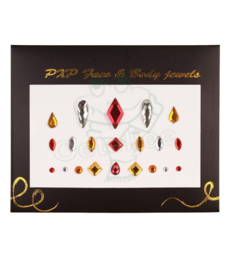 Oeteldonkse body jewels rood wit geel model B