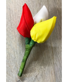 Oeteldonk broche / corsage tulpjes rood wit geel