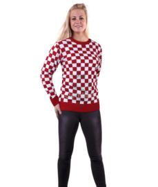 Brabant trui gebreid rood/wit geblokt (unisex)