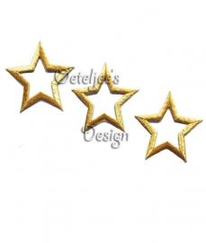 Open ster applicatie goud opstrijkbaar (7.5 cm)