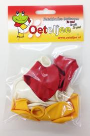 Carnavals ballonnen Oeteldonk (rood/wit/geel)
