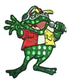 Geborduurd embleem stoere Oeteldonkse zingende kikker