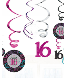 Sweet 16 swirl decoratie