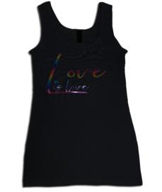"""Tanktop zwart, roze maandag / gay pride met glitter rainbow tekst """"Love is love"""""""