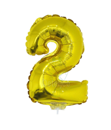 Folie ballon goud cijfer 2 (41 cm)