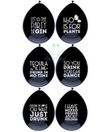 Latex ballonnen met text quotes (zwart)
