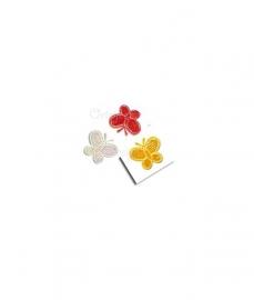 Applicatie set rood wit gele glimmende vlindertjes