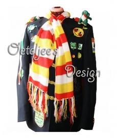 Oeteldonkse sjaal / das rood, wit, geel smal gestreept (160 x 23 cm)