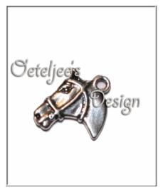 Bedeltje - Paardenhoofd oudzilverkleur