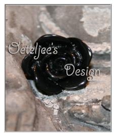 Kralen - Roosje zwart 12 mm