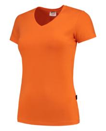 Koningsdag t-shirt dames oranje V-hals hals korte mouw