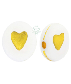 Letterkraal wit met goudkleurig hartje