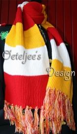 Oeteldonkse sjaal / das rood, wit, geel (190 x 23 cm)