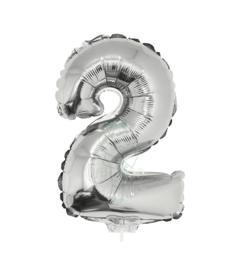 Folie ballon zilver cijfer 2 (41 cm)