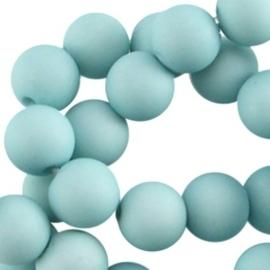Acryl kralen mat rond 8 mm Licht cyaan blauw
