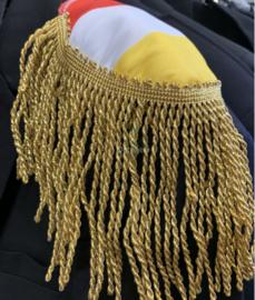 Epauletten luxe  rood wit geel Oeteldonk met goud lurex  franje 13 cm