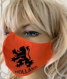 Oranje Koningsdag / EK mondkapje met leeuw en Holland opdruk (m/v)