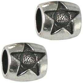 Kraal metaal ovaal met ster Antiek zilver