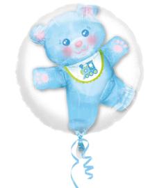 3D ballon geboorte jongen blauw beertje en treintje