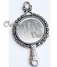 Bedel/hanger spiegeltje oudzilverkleur