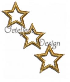 Open sterretje applicatie goud opstrijkbaar ( 4.0 cm)
