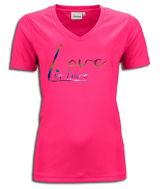 "T-shirt  fuchsia roze maandag / gay pride met glitter rainbow tekst ""Love is love"""