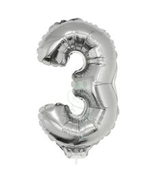 Folie ballon zilver cijfer 3 (41 cm)
