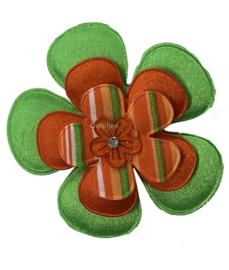 Bloem / corsage Kruikenstad groen oranje streepjes