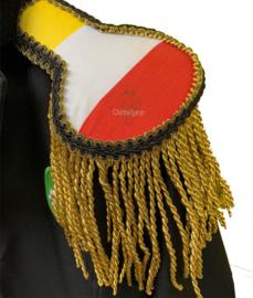 Epauletten luxe rood wit geel met goud franje 12 cm