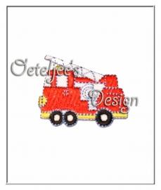 Opstrijkbare reflecterende applicatie brandweerautootje