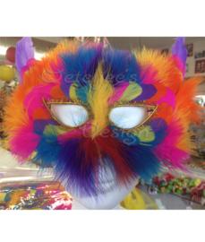 Venitiaans masker met veertjes in regenboogkleuren