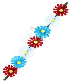 Hoofdbandje met rood wit blauwe bloemetjes