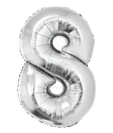 Folie ballon zilver cijfer 8 (100 cm)