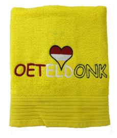 Oeteldonkse geborduurde handdoek rood of geel