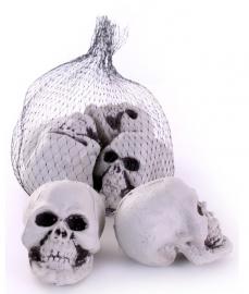 Decoratie skelet hoofden in net (6 stuks)