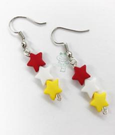 Oeteldonk oorbellen rood wit gele sterretjes