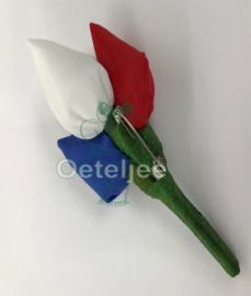 Broche tulpjes Holland rood wit blauw