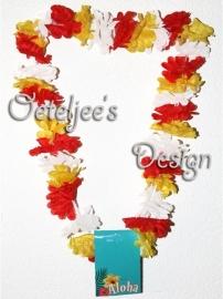 Oeteldonk Hawaii slinger/krans rood/wit/geel