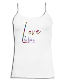 "Spaghetti top wit roze maandag / gay pride en rainbow glitter tekst ""Love is love """