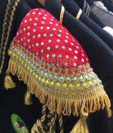Epauletten luxe  rood wit geel band Oeteldonk met goud franje